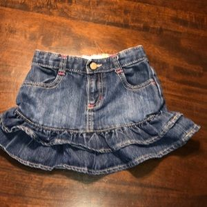 Old Navy Little Girls Ruffle Denim Skirt